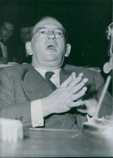 Edgar Faure at a press conference, 1953