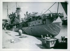 British trawler moored at dock.  Taken - Circa 1943