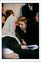 Yassir Arafat with his wife Suha in the church of Saint Catherine