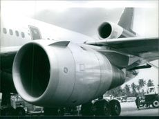 1979  Close up of the port engine on a Dc-10 aircraft at Singapore airport.