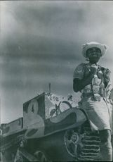 An Indian infantryman transferred to service in a British tank division in the western desert.