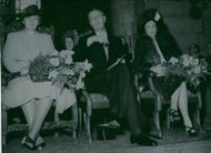 Lund Cathedral 800 years. An image from the ceremony in the Church. Queen Alexandrine, Crown Prince and Princess Margaretha