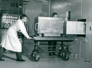 Civ.-ing. K. Randén, and Section Manager Ing. J. Braun puts an experiment into one of the small experimental holes in R 2-0