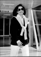 Bianca Jagger on Heathrow on his way to New York