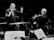 Portrait picture of Sixten Ehrling and violinist Leo Berlin taken during a Christmas concert.