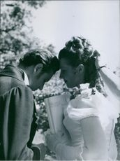 """A scene from the film """"Every heart has its story"""" casting by Inger Juel and Kenne Fant, 1948."""
