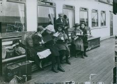 Children studying during the first world war in May 1919.
