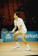 French tennis player Guy Forgotten in action