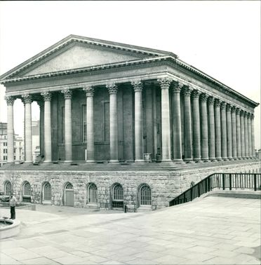 Exterior views of the Birmingham Town Hall.