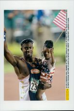 Allen Johnson (winner of the 110m Gurdles Gold) together with his daughter