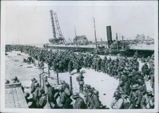 Soldiers marching during Denmark War.1940