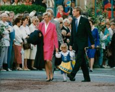 Carl Bildt with his wife Mia and daughter at Skansen to celebrate Sweden's National Day
