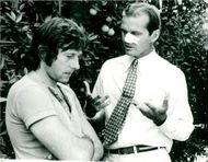 """Actors Roman Polanski and Jack Nicholson during the filming of the movie """"Chinatown"""""""