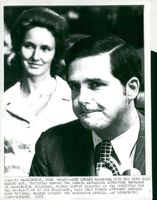 Portrait of Watergate Conspirator Jeb Stuart Magruder and Wife Gail Testify to Senate Watergate Committee in Washington.