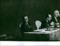 U Thant seated far left during a press conference. 1961.