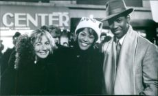 Director Penny Marshall, Denzel Washington and Whitney Houston for the film The Preacher's Wife, 1996.