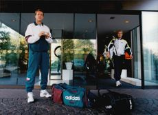 Tennis player Stefan Edberg after his 1000th match played during the Eurocard Cup in 1995