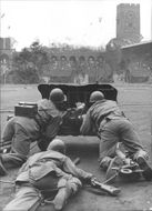 Red Cross week with hemvärns display of attacking anti-tank guns, Crown Prince Prince Carl, Count Folke Bernadotte and General Testrup was in the audience - 15 May 1944