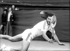 Ilie Nastase plays in Wimbledon