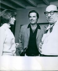 Jean Raines having a conversation with Tom Tryon and Richard Deacon. 1969.