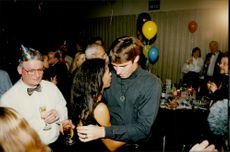 Michael Stich on the dance floor together with Boris Becker's wife Barbara during the New Year's party at Hotel Sheraton.