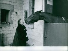 """Woman standing beside a stable and trying to kiss a horse.  """" __ Karl"""""""