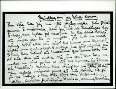 Handwritten text about August Strindberg.