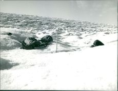 Luggages on a snowy field.  Taken - 22 Oct. 1962