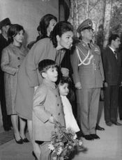 Farah Pahlavi with her two children Reza and Farahnaz.  - Mar 1965