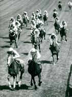 Lester Piggott at The Minstrel and Willie Carson at Hot Grove in the derby final at Epsom