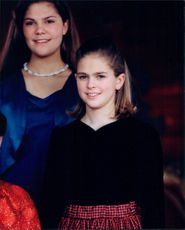 Portrait of Princess Madeleine and Crown Princess Victoria in the background