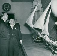 Maritime Museum: Museum Director Gerhard Albe with Prince Bertil in front of the model of the Nordic Skyline Ship