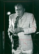 American jazz musician Woody Herman during a concert.