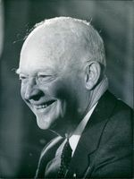 General Dwight D. Eisenhower pictured at a Press conference at the Savoy Hotel in London