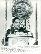King Hussein of Jordan is speaking during the National Press Club's lunch meeting