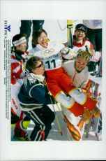 Tea Satoya is released after the gold medal in freestyle skiing during the Winter Olympics 1998.