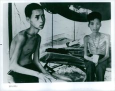 Captured Vietnamese soldiers looking gaunt. Vietnam. 1967.