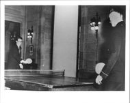 Prince Baudouin of Belgium plays a ping-pong with an American officer on a visit to the United States Navel Academy - 26 March 1948
