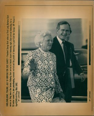George Walker Bush with his wife.