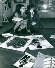 Eva Bartok seen with her daughter Deanna Gracia in the art gallery of Foyle's bookshop in London's Charing Cross Road