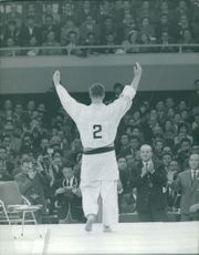 Anton Geesink being applauded by the crowd.  Taken - Oct. 1964