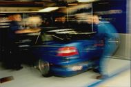 The Volvo team is working on Rickard Rydell's race car in Brands Hatch depot.