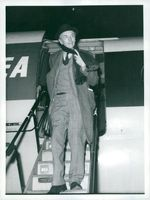 Sir Alec Douglas-Home on arrival at London airport