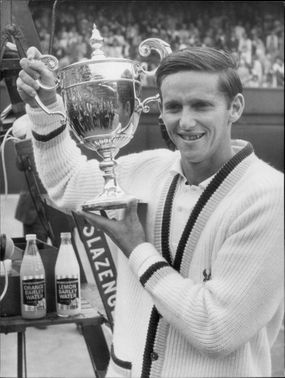 Roy Emerson at the award ceremony after the victory in Wimbledon.