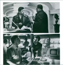 Different scenes from the film The Hunt for Red October with Alec Baldwin as Dr. Jack Ryan, James Earl Jones as Vice Admiral James Greer and Daniel Davis as Captain Charlie Davenport, 1990.