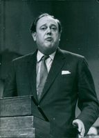 Christopher Soames giving speech during an event.
