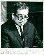 Norodom Sihanouk is speaking before the UN General Assembly