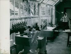 Sculptures and statues in the house. 1948