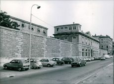 A view of the outer wall of St. John Prison. 1983.