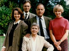 Geoffrey Palmer with Moira Brooker and Judi Dench.